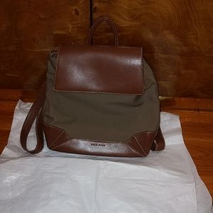 cole hann leather and thick canvas backpack purse.